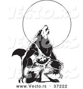 Vector of a Werewolf Howling over Full Moon - Black and White Art by Lawrence Christmas Illustration