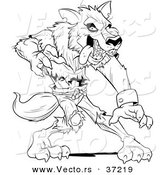 Vector of a Werewolf Standing Aggressively - Black and White Art by Lawrence Christmas Illustration