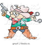 Vector of a Western Cartoon Cowboy Sheriff with a Gun and Handcuffs by Gnurf