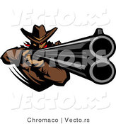 Vector of a Western Cowboy Mascot Pointing a Loaded Double Barrel Rifle by Chromaco