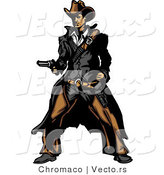 Vector of a Western Gunslinger Outlaw Pointing a Loaded Gun by Chromaco