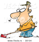 Vector of a Whistling Cartoon Man Cultivating Garden Soil with a Hoe by Toonaday