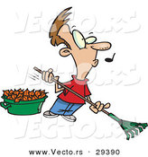 Vector of a Whistling Cartoon Man Raking Autumn Leaves by Toonaday