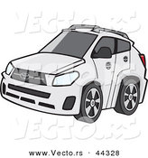 Vector of a White 4-door Car with Dark Tinted Windows by Toonaday