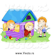 Vector of a White Boy and Two Girls Playing in a Toy House by BNP Design Studio
