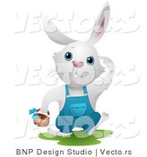 Vector of a White Bunny Rabbit Searching for Easter Eggs by BNP Design Studio