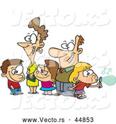 Vector of a White Cartoon Family of Five Trying to Pose Happily Together by Toonaday