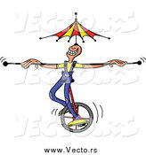 Vector of a White Circus Man Riding a Unicycle with a Bar and Umbrella Balanced on His Head by Zooco