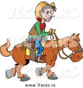 Vector of a White Cowboy Traveling by Horseback by LaffToon