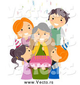 Vector of a White Family Celebrating Grandmas Birthday by BNP Design Studio