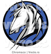 Vector of a White Horse Composited over a Blue Circle Icon by Chromaco