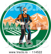 Vector of a White Male Farmer with a Rake on a Farm Inside a Circle by Patrimonio