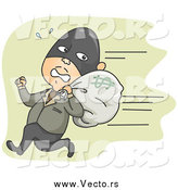 Vector of a White Male Robber Running Away with a Money Bag by BNP Design Studio