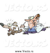 Vector of a White Male Vet Chasing a Dog for a Neuter Surgery by Ron Leishman