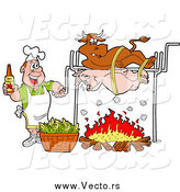 Vector of a White Man Holding a Bottle of Bbq Sauce and Cooking a Cow and Pig over a Fire by LaffToon