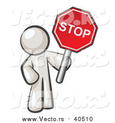 Vector of a White Man Holding a Red Stop Sign by Leo Blanchette