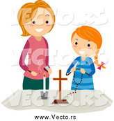 Vector of a White Mother and Girl at a Christian Altar by BNP Design Studio