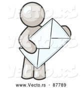 Vector of a White Person Holding a Large Envelope, Symbolizing Communications and Email by Leo Blanchette