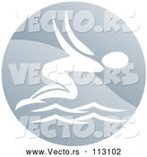 Vector of a White Swimmer Person Diving in a Circle by AtStockIllustration
