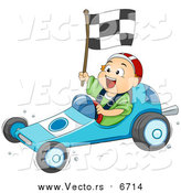 Vector of a White Toddler Boy Driving a Go Kart by BNP Design Studio