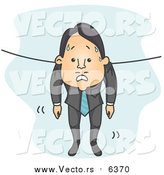 Vector of a White Wet Businessman Hung out to Dry by BNP Design Studio