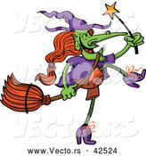 Vector of a Wicked Cartoon Witch Dancing with a Magic Wand and Broom Stick by Zooco