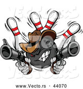 Vector of a Wild West Cartoon Cowboy Bowling Ball Shooting Handguns While Knocking Pins down by Chromaco