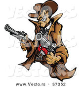 Vector of a Wild West Cartoon Cowboy Mascot Pointing Two Handguns While Grinning by Chromaco