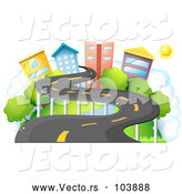 Vector of a Winding Road to a Small City Town by Graphics RF