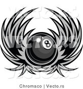 Vector of a Winged Billiards Pool Eight Ball - Grayscale Design by Chromaco