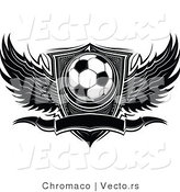 Vector of a Winged Soccer Ball with Blank Banner and Shield - Black and White Version by Chromaco