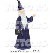 Vector of a Wizard Carrying a Book and Presenting by BNP Design Studio