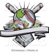 Vector of a Worldwide Baseball Globe with Blank Banner over Crossed Bats and a Home Plate by Chromaco