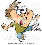 Vector of a Worried Cartoon Boy Running with Ants in His Clothes by Ron Leishman
