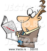 Vector of a Worried Cartoon Businessman Reading Stock Market News Paper by Toonaday