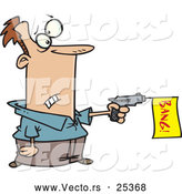 Vector of a Worried Cartoon Man Shooting Toy Gun in a Dangerous Situation by Toonaday