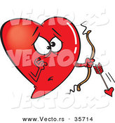 Vector of a Worried Red Love Heart Cupid with a Broken Arrow by Toonaday
