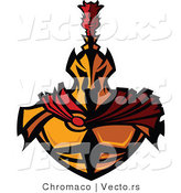Vector of a Worthy Gold Spartan Warrior Wearing Red Cape by Chromaco
