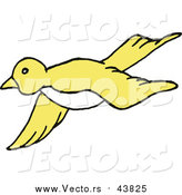 Vector of a Yellow Bird Flying by LaffToon