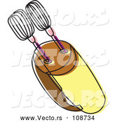 Vector of a Yellow Brown Food Mixer by Cherie Reve