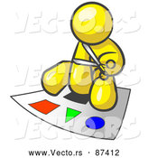 December 30th, 2017: Vector of a Yellow Character with Scissors Preparing Poster Board with Colorful Shapes by Leo Blanchette