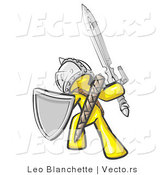 Vector of a Yellow Knight with Shield and Sword Standing in Battle Mode by Leo Blanchette