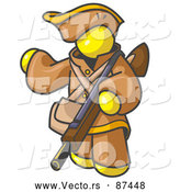 Vector of a Yellow Person in Hunter Gear, Carrying a Rifle by Leo Blanchette