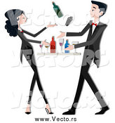 Vector of a Young Bartender Couple Mixing Drinks by BNP Design Studio
