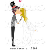 August 14th, 2016: Vector of a Young Bride and Groom Kissing During Wedding by BNP Design Studio