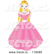 Vector of a Young Cartoon Fairy Tale Princess in a Pink Dress by Pushkin