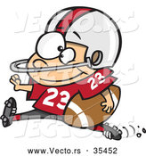 Vector of a Young Cartoon Football Halfback Charging Forward with the Ball by Toonaday