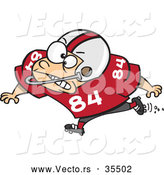 Vector of a Young Cartoon Football Player Charging Forward with a Mean, Intimidating Look on His Face by Toonaday
