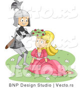 Vector of a Young Cartoon Knight Giving Princess a Flower Crown Gift by BNP Design Studio