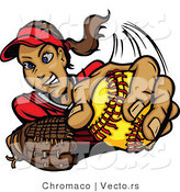 Vector of a Young Female Softball Player Pitching the Ball by Chromaco